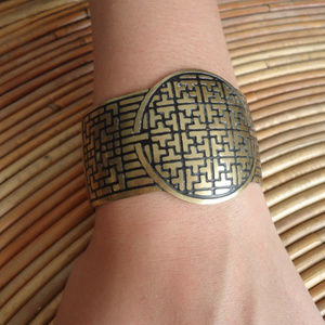 Brass Statement Cuff w Asian Maze Pattern